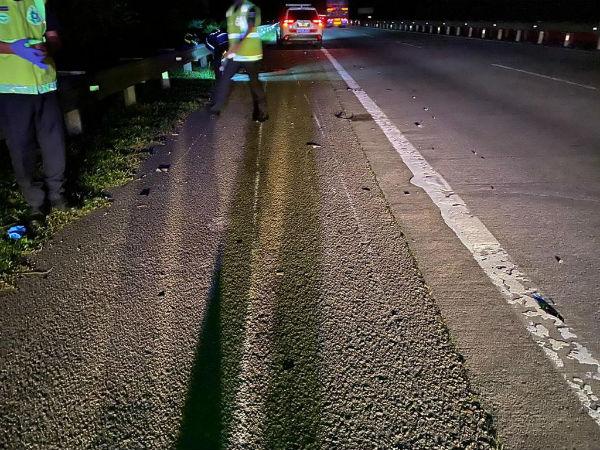 警方赶抵现场时发现,摩哆疑撞及的重型交通工具事发后已不在现场。