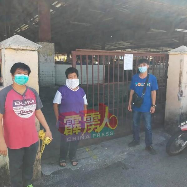 罗永康(右)及李海珊(左)周一(8日)前往巴刹巡视及与小贩交流。