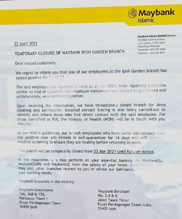 马银行怡保花园分行1名职员确诊,银行将暂时关闭至另行通知。