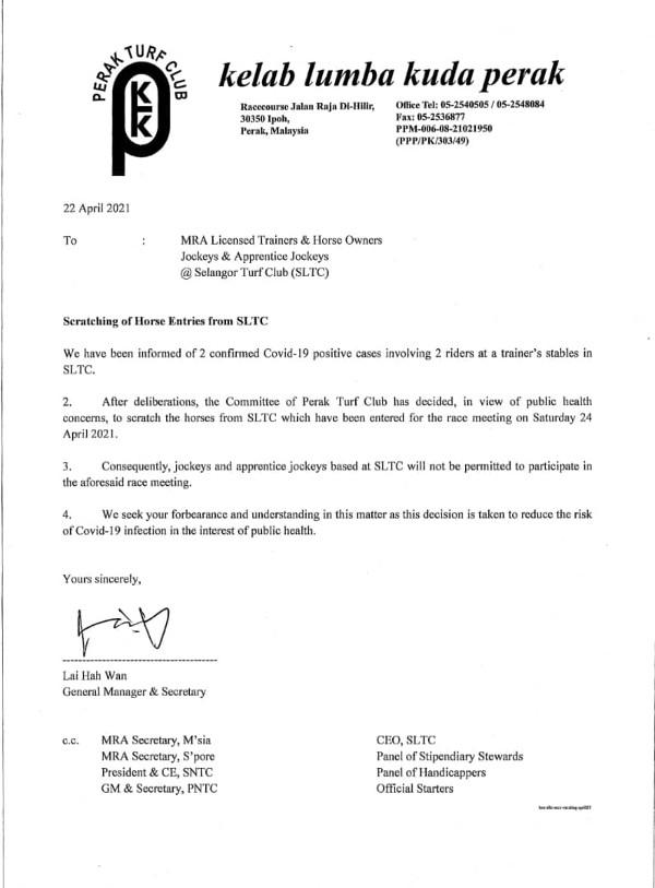 霹雳赛马公会发文告指为了安全起见,来自雪兰莪赛马公会的马匹,不允许参与4月24日的赛圈。