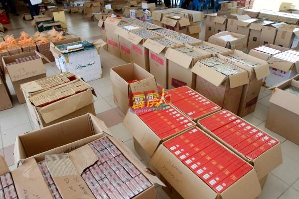 """北旅普通行动部队展开""""取缔违禁品行动"""",起获市值约202万6481令吉86仙的漏税烟、酒及烈酒。"""
